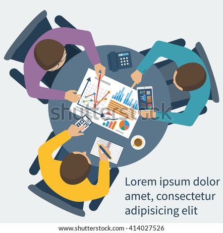 Project management concept. Business team work on projects. Brainstorming. Business meeting, planning strategy, analysis, marketing research, financial management, development. Flat design, vector.