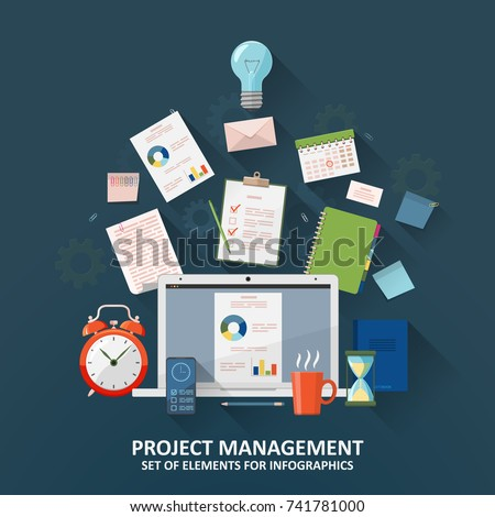 Project management, concept planning, organization, working time. A set of elements for infographic. Clock, hourglass, to-do list, office supplies, laptop and smartphone. Flat vector illustration