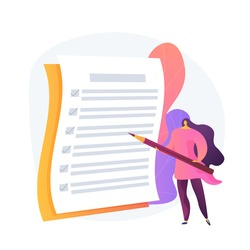 Project management, goal completion, to do list. Questionnaire survey answering. Business organization tool. Office manager with checklist and pencil. Vector isolated concept metaphor illustration