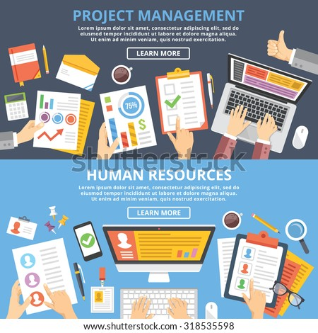 Project management, human resources flat illustration concepts set. Top view. Modern flat design concepts for web banners, web sites, printed materials, infographics. Creative vector illustration