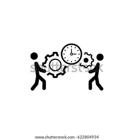 Project Management Icon. Business Concept. A Two man with Gears and Clock. Flat Design. Isolated Illustration. App Symbol or UI element.