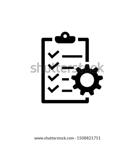 Project management icon. To do list symbol on white background. Checklist with cog icon in flat style. Simple abstract plan icon in black. Vector illustration for graphic design, Web, UI, mobile upp