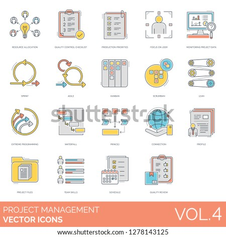 Project management icons including allocation, quality control, monitoring data, sprint, agile, kanban, scrumban, lean, programming, waterfall, prince2, profile, files, team skills, schedule, review.