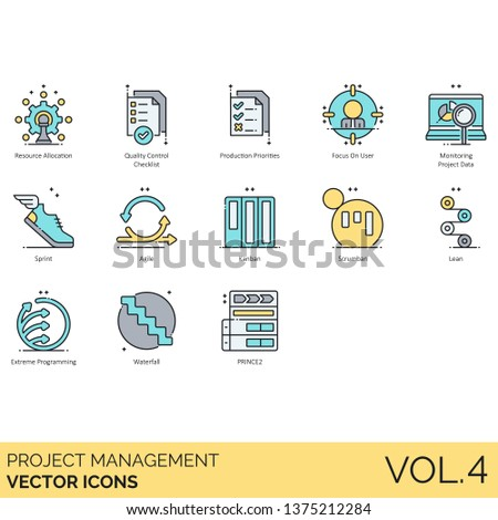Project management icons including resource allocation, quality control checklist, priority, focus on user, monitoring, sprint, agile, kanban, scrumban, lean, extreme programming, waterfall, prince2.