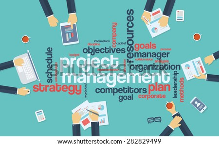 Project management infographics poster with businessmen working around the word cloud. Analysis and planning keywords. Office objects. Eps10 vector illustration