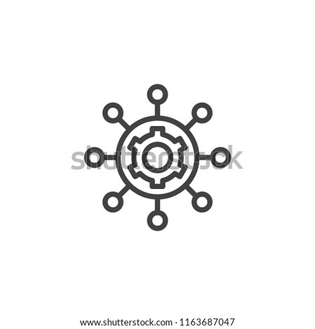 Project management outline icon. linear style sign for mobile concept and web design. Hub and spokes and gear line vector icon. Symbol, logo illustration. Pixel perfect vector graphics