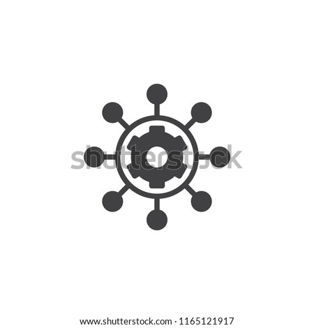 Project management vector icon. filled flat sign for mobile concept and web design. Hub and spokes and gear solid icon. Symbol, logo illustration. Pixel perfect vector graphics