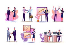 Project managers set. Office workers shaking hands, presenting reports, celebrating success. Flat vector illustrations. Business, partnership concept for banner, website design or landing web page