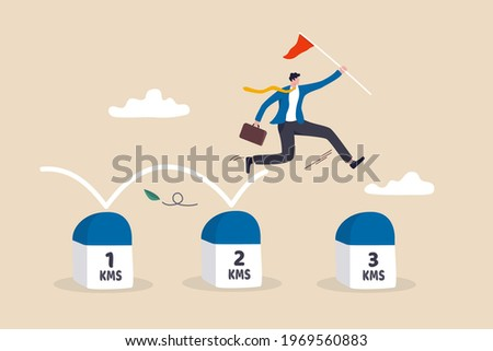 Project milestone to progress toward business goal, journey or execution to achieve business success concept, skillful businessman holding success flag jumping on milestones reaching target. Foto stock ©