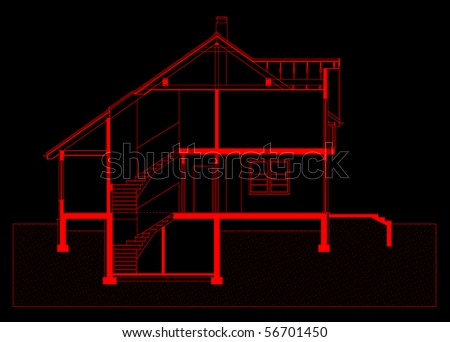 Project Of House In Red Color On Black Background Elevation Of