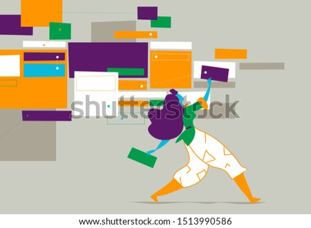Project planning. Project management. Manager is creating a task board. Vector illustration