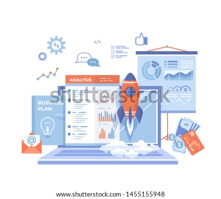 Project Startup, Financial planning, Idea, Strategy, Management, Realization, Success. Rocket launch, laptop, report, business plan, money, analysis, statistics.Vector illustration on white background