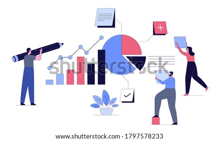 Project task management and effective time planning tools. Board with work tasks on sticker note, to-do list, status. Man with pencil and women add tasks. Vector character illustration of goals achievement  Stock photo ©