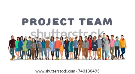 Project team. Employee group. The team of workers. Men and women in one team. Men and women in one project team. Flat style. Flat design. Vector illustration Eps10 file