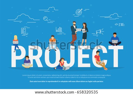 Project teamwork concept illustration of business people using laptops. Manager, designer, programmer and other colleagues working together as team. Flat design for website banner and landing page
