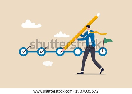 Project tracking, goal tracker, task completion or checklist to remind project progress concept, businessman project manager holding big pencil to check completed tasks in project management timeline.