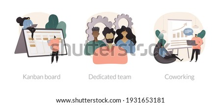 Project workflow abstract concept vector illustration set. Kanban board, dedicated team, coworking for freelancers, agile project management, scrum meeting, IT outsource abstract metaphor. Foto stock ©