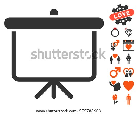 Projection Board icon with bonus love design elements. Vector illustration style is flat iconic symbols for web design, app user interfaces.
