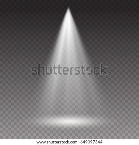 Projector light effect. White glowing stage light ray isolated on transparent background. Vector bright scene spotlight. Shine theater vertical projector beam for your creative design
