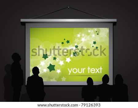 projector screen in dark room, vector