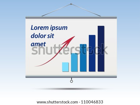 projector screen with graph and text