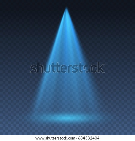 Projector vertical light effect. Blue glowing stage light ray isolated on transparent background. Vector bright scene spotlight effect. Shine theater projector beam template for your creative design