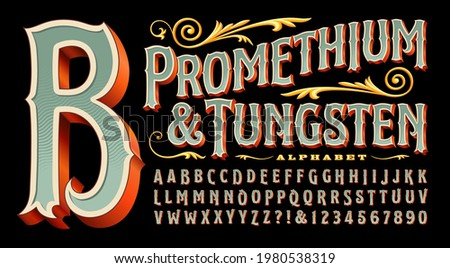Promethium and Tungsten is an elegant and ornate alphabet with vintage style 3d details. Good for circus, carnival, amusement park, steampunk, logos for tattoo parlor, curio shop, carousel, etc.
