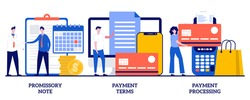 Promissory note, payment terms, payment processing concept with tiny people. Money loan contract, exchange bill, online banking service, cash withdrawal abstract vector illustration set.