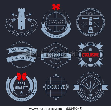 promo badges on dark background