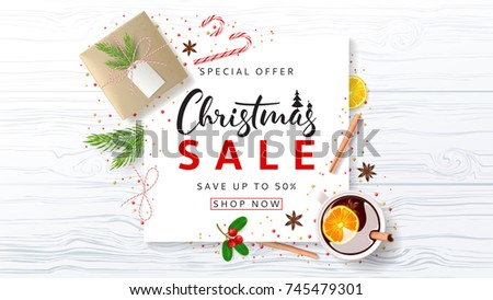 Promo Banner for Christmas Sale. Festive Composition with Paper Gift Box and Xmas Symbols for Happy New Year on Wooden Texture. Beautiful Greeting Card. Vector Illustration with Discount Offer.