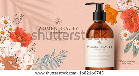 Promo banner for fragrant cleansing product mock-up, decorated with beautiful hand-drawn flowers and palm leaf shadow on peach pink background, 3d illustration