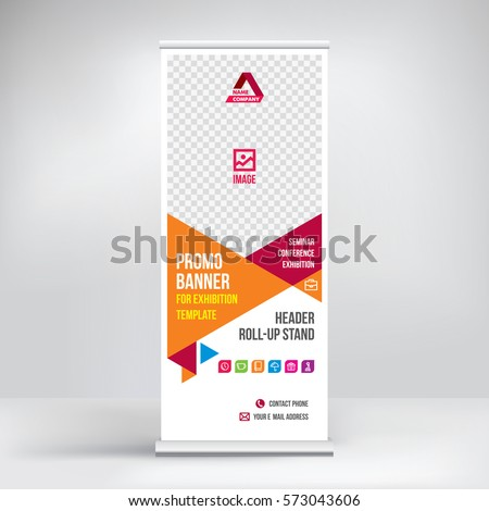 Promo banner roll-up design, business concept for promo products. Graphic template roll-up for exhibitions, banner for seminar, layout for placement of photos. Universal stand for conference, vector.