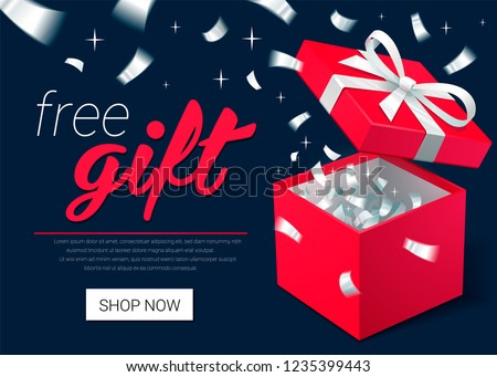 Promo banner with Open Gift Box and silver Confetti. Red jewelry box. Template for jewelry shops. Christmas Background. Vector Illustration.