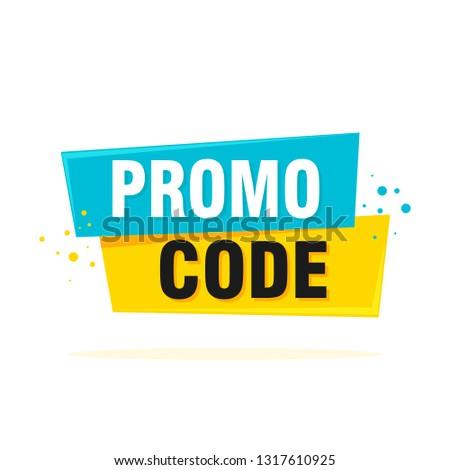 Promo code, coupon code. Flat vector set design illustration on white background.