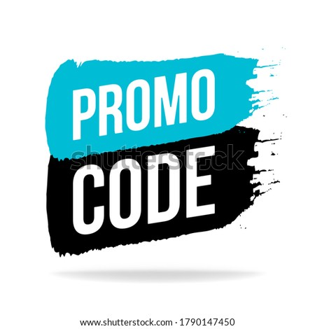 Promo code, coupon code icon, emblem, logo in brush stroke style. Vector flat illustration. Blue and black element design for shops and online store isolated on white.
