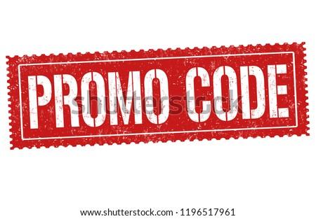 Promo code sign or stamp on white background, vector illustration
