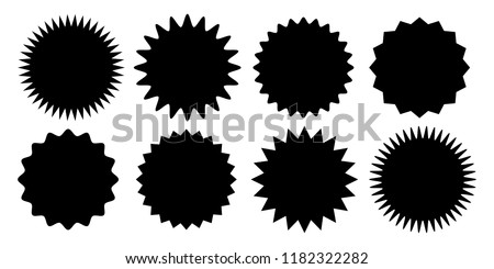 Promo sale sticker of starburst or sunburst icon. Vector black star price tag or quality mark badge for blank label template design. #1182322282