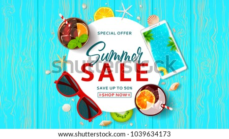 Promo web banner for summer sale. Top view on Summer decoration with cocktails and fresh fruit on wooden texture. Vector illustration with special discount offer. Concept of seasonal vacation.