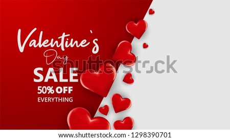 Promo Web Banner for Valentine's Day Sale. Beautiful Background with Red Hearts. Vector Illustration with Seasonal Offer. - Vector