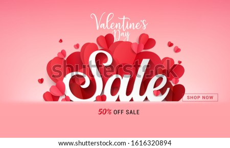 Promo Web Banner for Valentine's Day Sale. Vector illustration.banners.Wallpaper.flyers, invitation, posters, brochure, voucher discount.