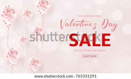 Promo Web Banner for Valentine's Day Sale. Vector Illustration with Effect Bokeh. Seasonal Offer. Beautiful Background with Realistic Transparent Pink Air Balloons with Confetti.