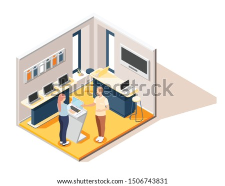 Promoter isometric composition  with seller consulting visitor in computer hardware store vector illustration