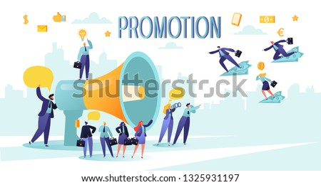 Promoter speaks in big megaphone and attracts buyers of investors and businessmen. People characters listen to the announcement.  Concept of advertisement, marketing, promotion.  Foto d'archivio ©