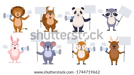 Promoters animals with blank banner. Happy cartoon animals with speech bubble lion deer fox are holding megaphone blank poster template serious koala squirrel hare are reporting important vector news.