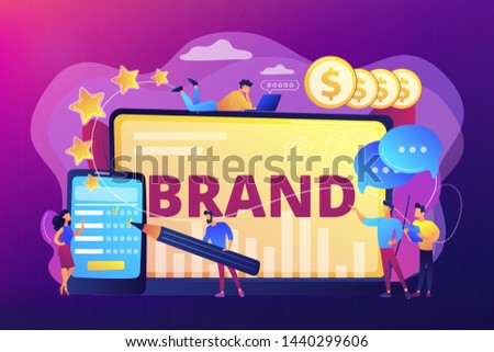 Promoting company credibility. Increasing clients loyalty. Customers conversion. Brand reputation, brand management, sales driving strategy concept. Bright vibrant violet vector isolated illustration