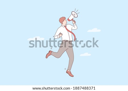 Promotion, announcement, attention concept. Young positive businessman cartoon character standing and making announcement with speaker megaphone for attention vector illustration