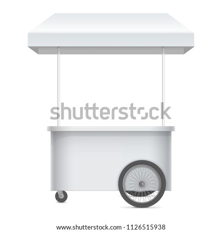 Promotion counter on wheels and a triangular roof, Retail Trade Stand Isolated on the white background. MockUp Template For Your Design. Vector illustration.