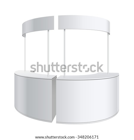 Shutterstock Promotion counter, Retail Trade Stand Isolated on the white background. MockUp Template For Your Design. Vector illustration.