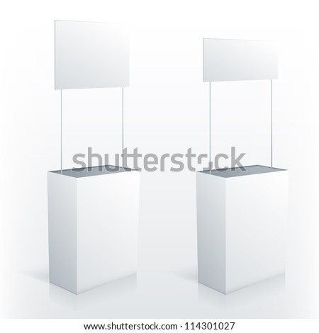 Promotion counter table with square topper Vector promo stand
