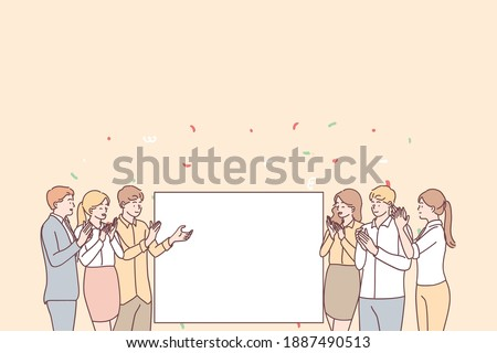 Promotion, demonstration and admiration concept. Group of young smiling positive people office workers standing applauding and looking at white blank mockup for text ad copy space vector illustration  Stock photo ©
